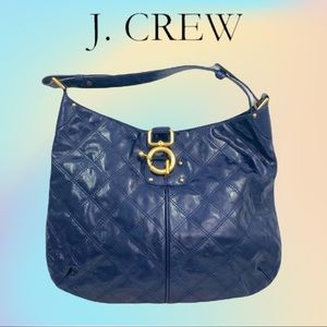 Blue J. Crew Patent Leather Quilted Quincy Hobo